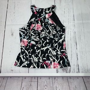 WHBM lined sleeveless peplum floral top blouse